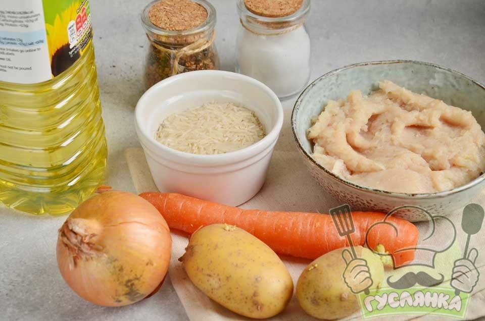 для приготування супу з фрикадельками і рисом в мультиварці мені потрібні такі інгредієнти