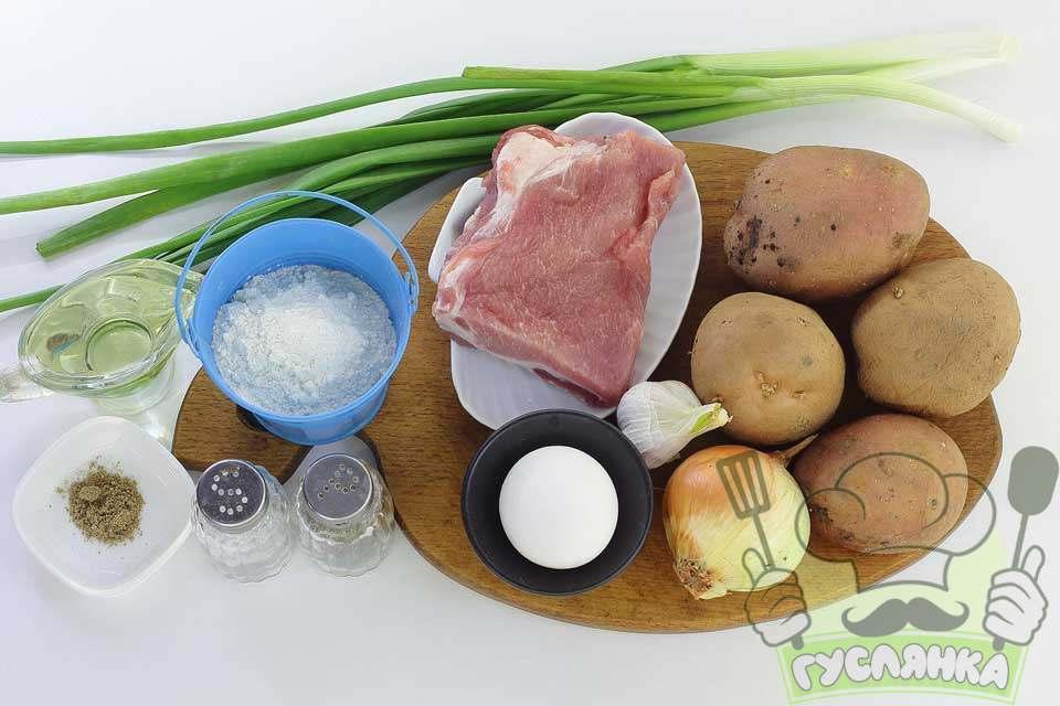 для приготування картопляних дерунів з фаршем на сковороді меня потрібні такі інгредієнти