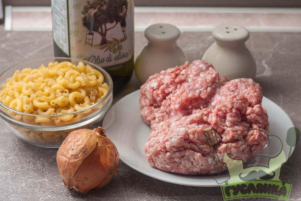 для приготування макарон по-флотськи зі свинячого фаршу меня необхідні такі інгредієнти