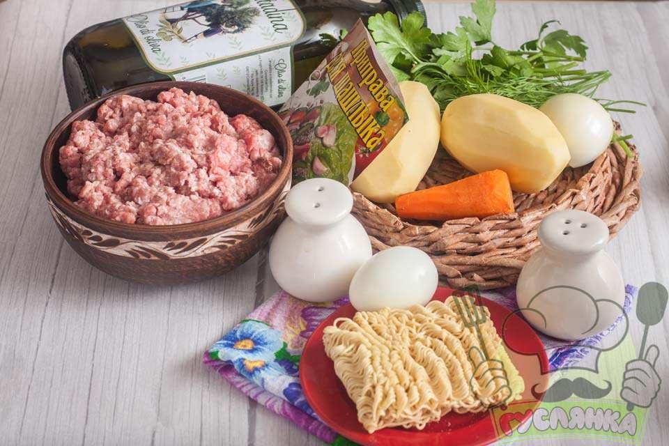 для приготування супу з мівіною і тефтельками мені потрібні такі продукти