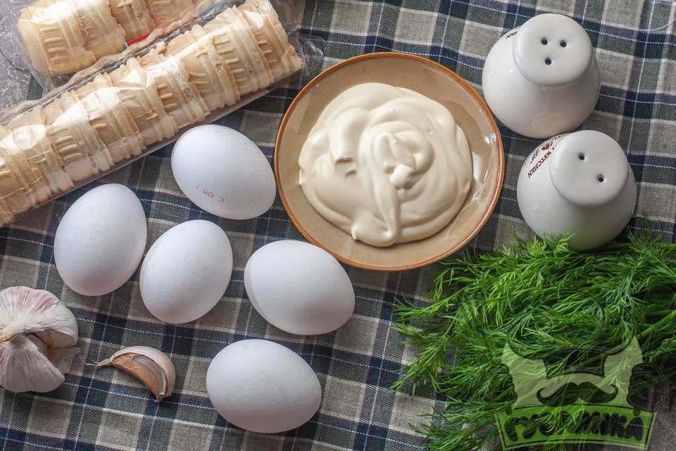 для приготування тарталеток з яйцем мені потрібні такі продукти