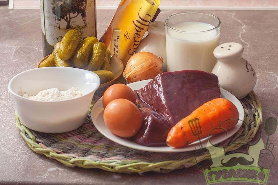 для приготування налисників з печінки та начинкою з солоних огірків мені потрібні такі інгредієнти
