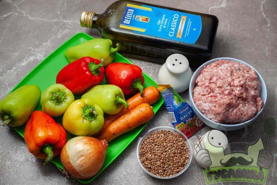 для приготування фаршированого перцю з гречкою і фаршем мені необхідні такі продукти