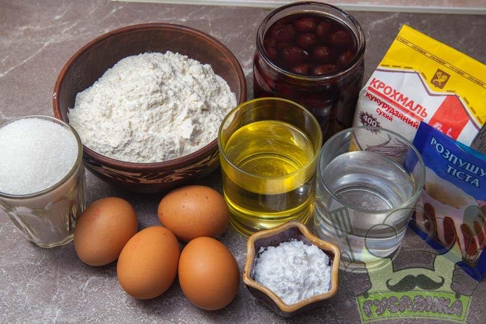 для приготування кексу на воді та рослинній олії з вишнями мені потрібні такі інгредієнти